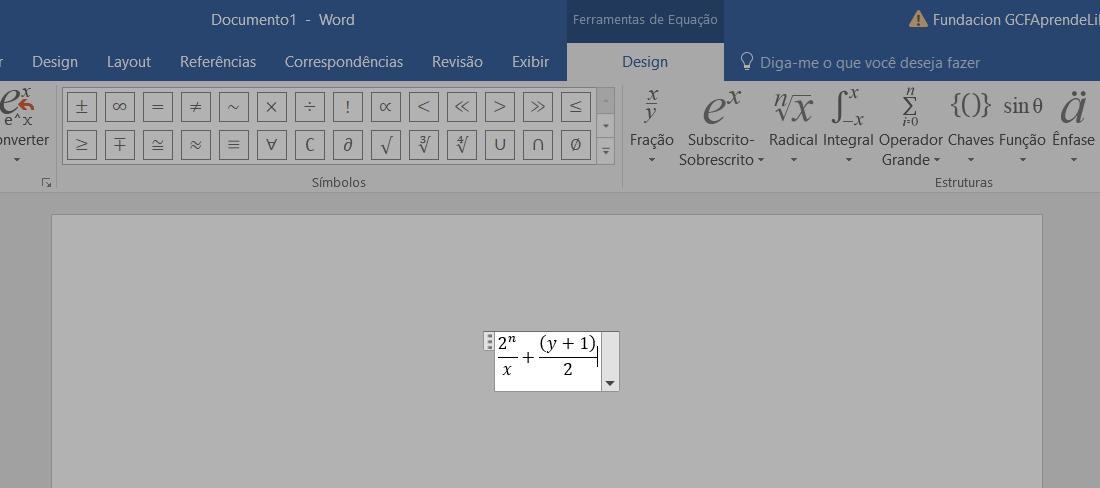 Equação já inserida no documento.