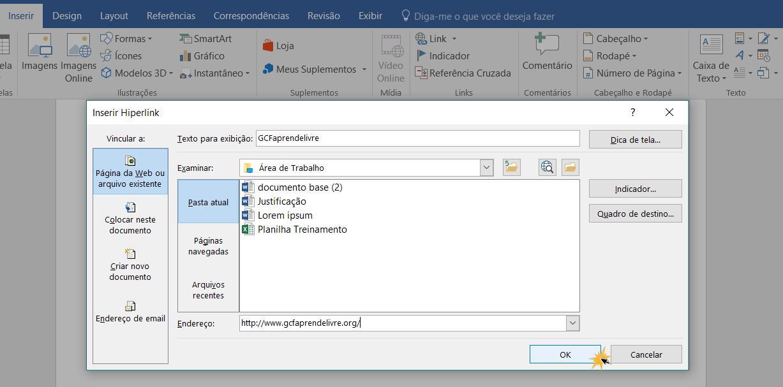 Caixa de diálogo Inserir Hiperlink.