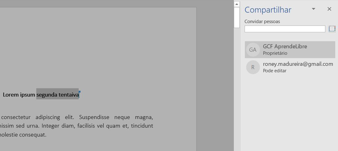 Ver usuário trabalhando num documento compartilhado.