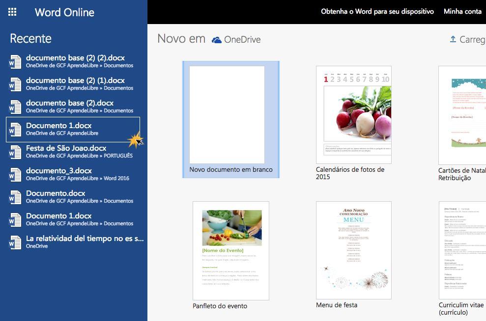 Escolha o documento para abrir no seu Word Online.
