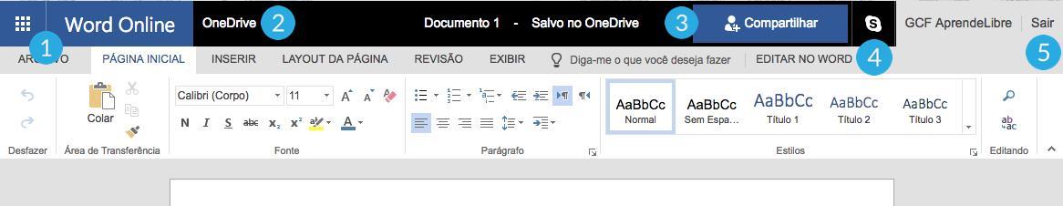 Faixa de opções do Word Online.