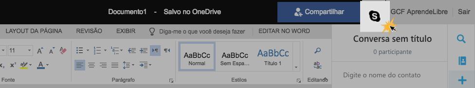 Ícone do Skype na faixa de opções do Word Online.