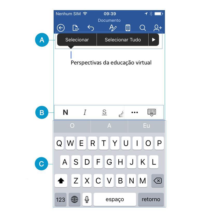 Espaço de trabalho do Word 2016 para iPhone.