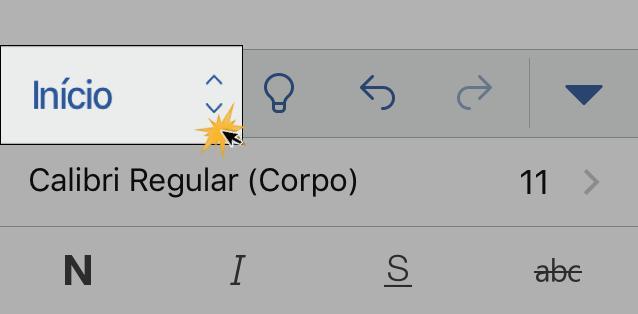 Opções sobre arquivo do Word 2016 para iPhone.