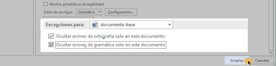 Opciones para ocultar marcas de errores en un documento.