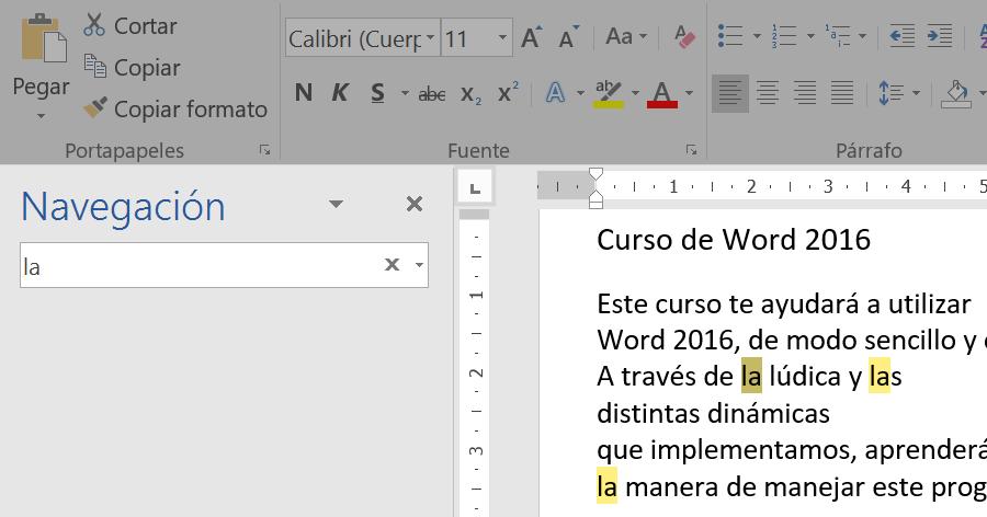 Panel de navegación para buscar texto en el documento.