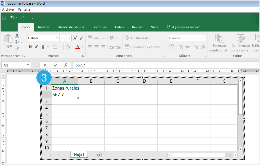 Hoja de cálculo en Excel en Word.