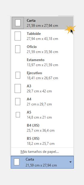 Escoger tamaño de papel para impresión.