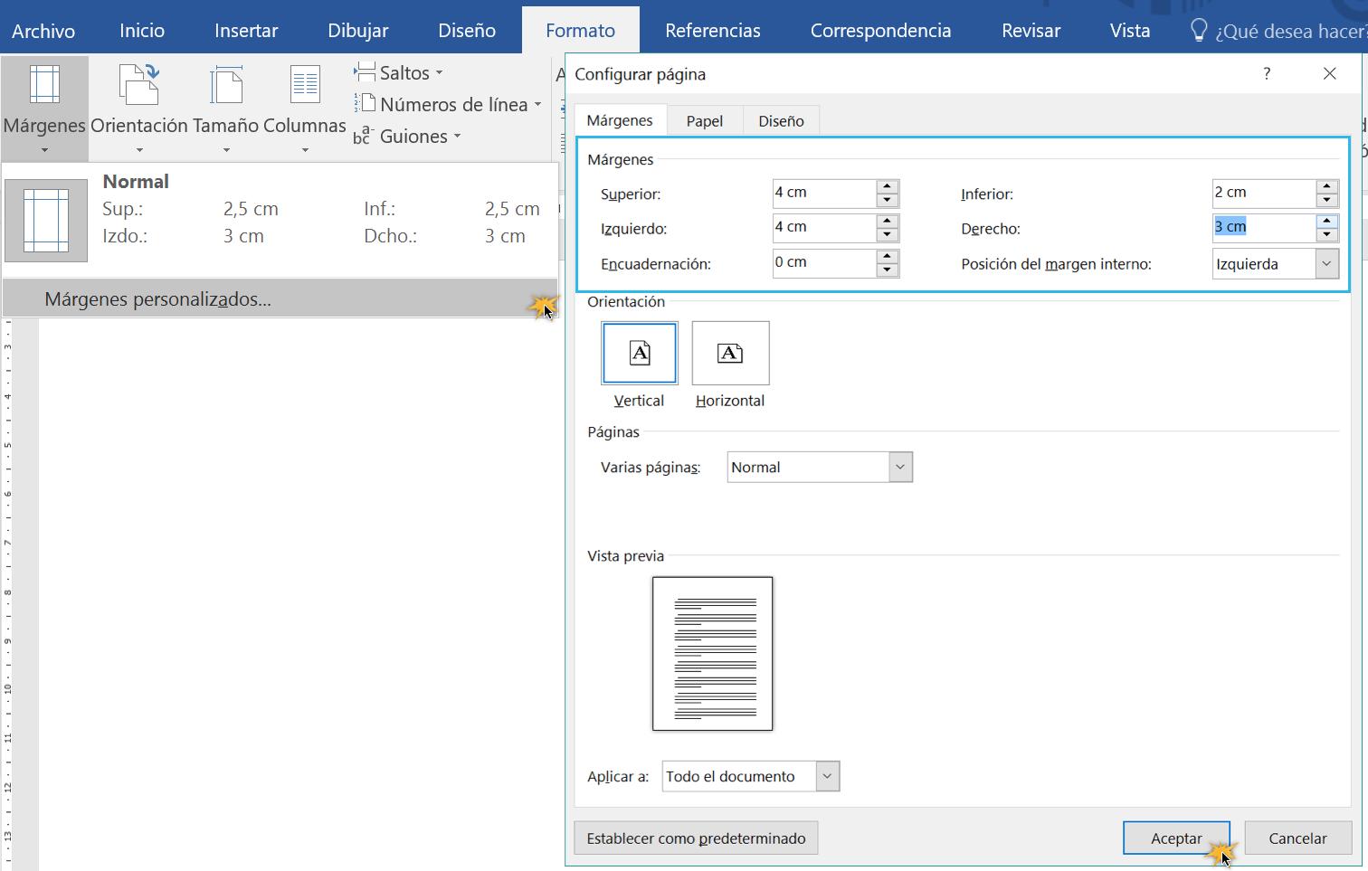 Personalizar las márgenes de un documento.