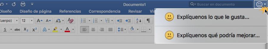 Hacer clic en botón para enviar comentarios a Windows.